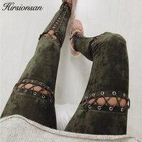 Hirsionsan Suede Leather Pants Women Autumn Winter Lace Up Bodycon High Waist Pants Leggings Soft Pencil