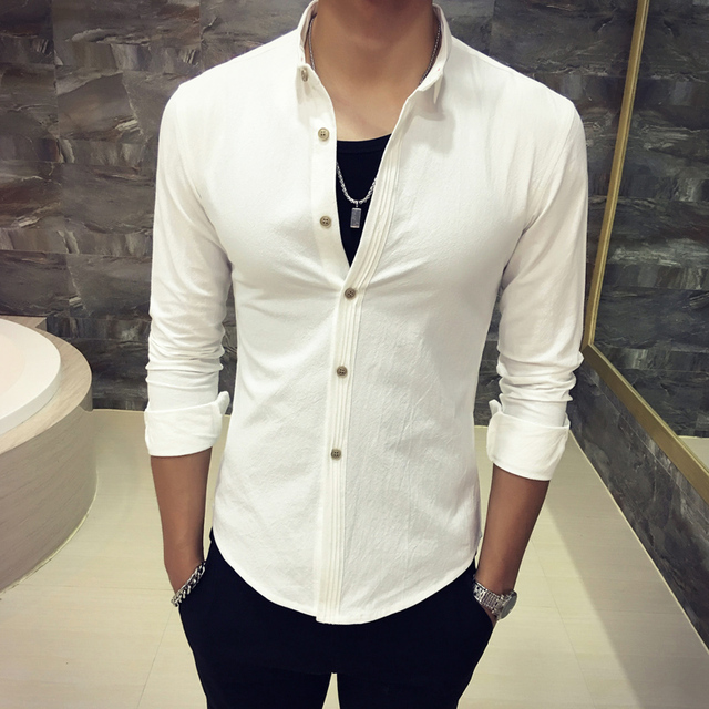 bd7f1de3577 Men s Shirts Cotton frilly placket Slim long-sleeved shirt fall 2017 Fashion  Lapel Casual Shirt