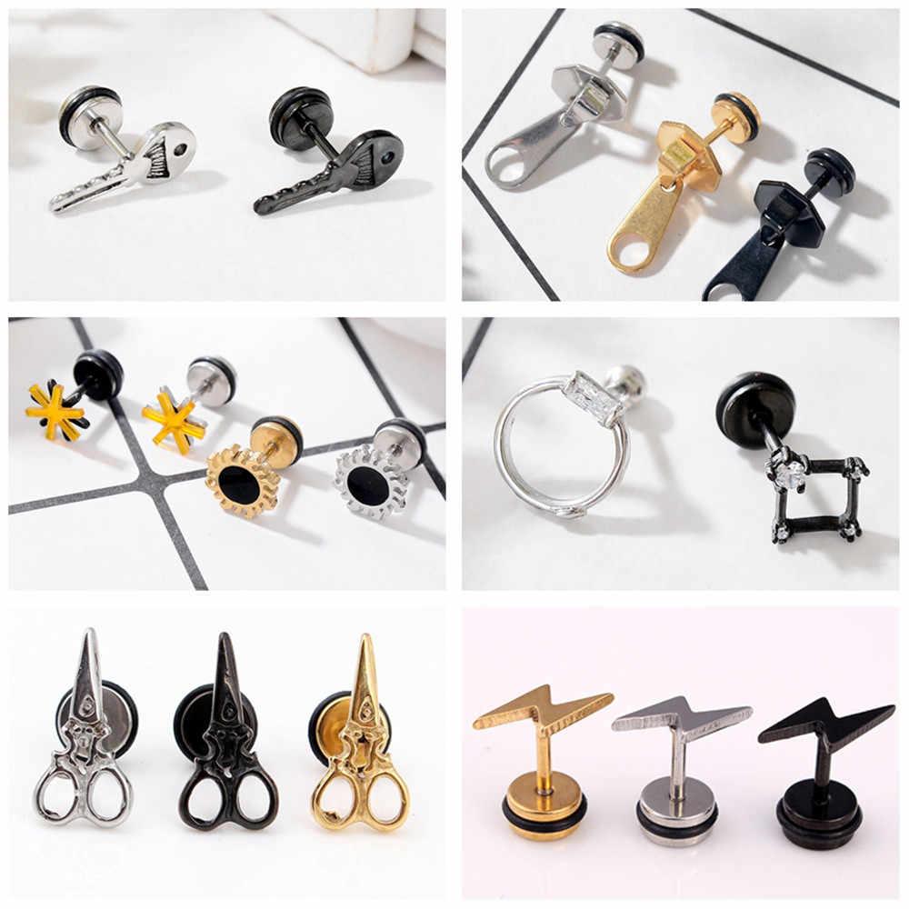 39f419b2a 1 Pair Stainless Steel Key Zipper Scissors Lightning Flower Tragus Cartilage  Earring Helix Ear Studs Plugs