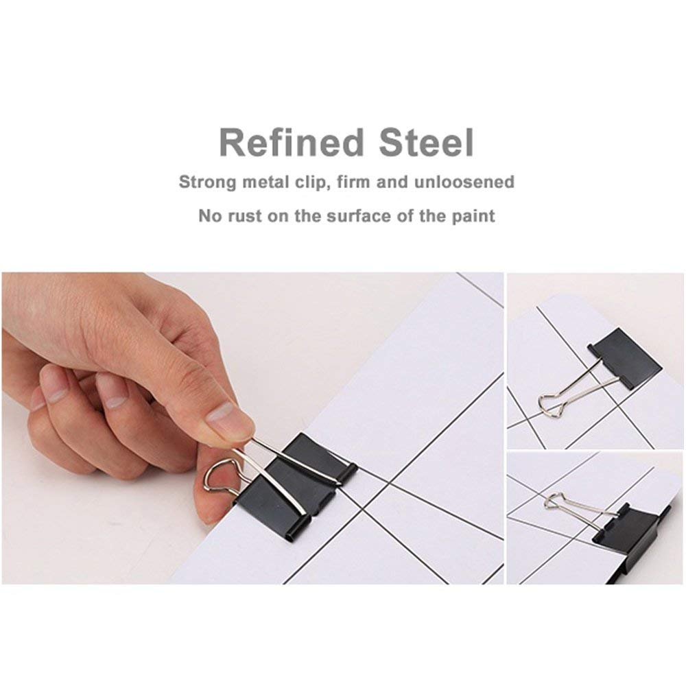 Extra Large Metal Binder Clips 2 Inch 12 Pack Paper Clamps for Office Supplies School Accessories Paper Organizer Black Paper Binder Clip 2//51mm