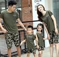 Summer family clothing outfits Casual Green camouflage cotton man woman Girls Boys t shirt+ pants sets