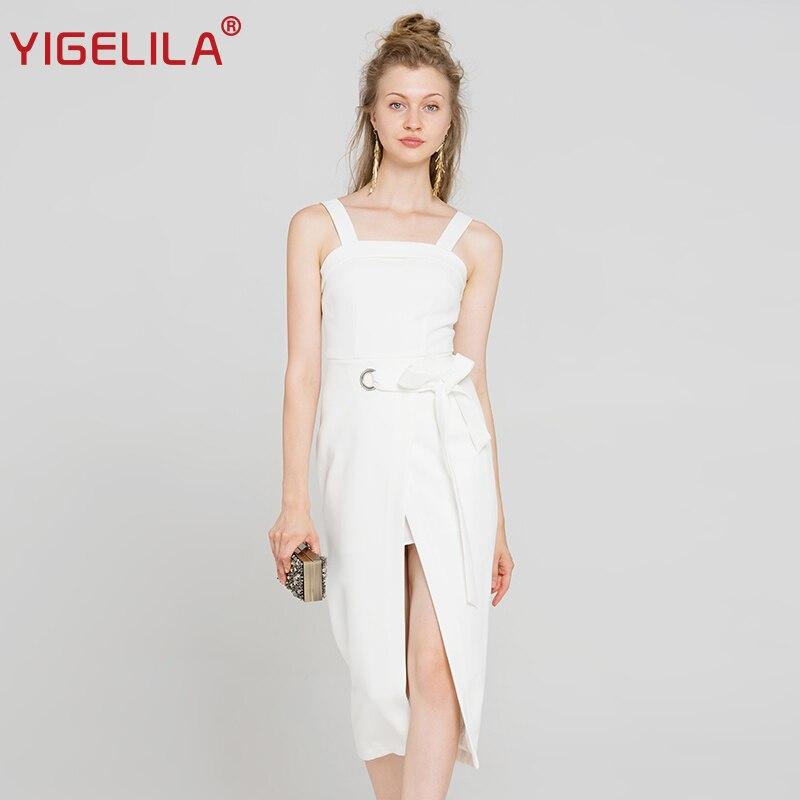 YIGELILA 2018 Latest Women White Spaghetti Strap Dress Fashion Sexy Backless Empire Slim Mid Length Dress 63057