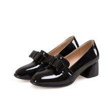 new arrive women pumps High-quality PU Patent leather square toe bowknot fashion single shoes big size 34-47