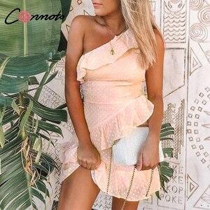 Image 2 - Conmoto Vestido corto informal de lunares, vestido de gasa con volantes y un solo hombro sin mangas para mujer para fiesta de verano 2019
