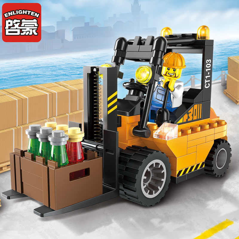 Enlighten Bouwsteen City Cars Heftruck 115 Pcs Educatief Bricks Speelgoed Jongen Gift-Geen Doos