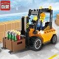 Enlighten строительный блок, городские автомобили, автоподъемник 115 шт., развивающие кирпичи, игрушка для мальчика, подарок-без коробки