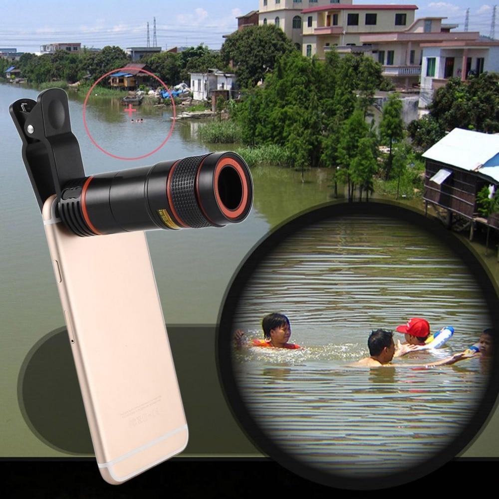 Universal 12x Telescopio del teléfono móvil HD teleobjetivo externo reemplazo tele lente zoom óptico teléfono celular Objetivos para cámaras Kit