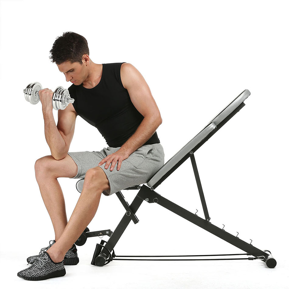 Foldable Adjustable Sit Up Abdominal Bench Ab Exercise Multifunction Supine Dumbbell Fitness Chair