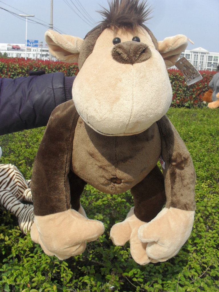 stuffed animal plush 80cm jungle monkey plush toy soft doll throw pillow gift w2915 cute big head dog toy short plush throw pillow blue beige 80cm