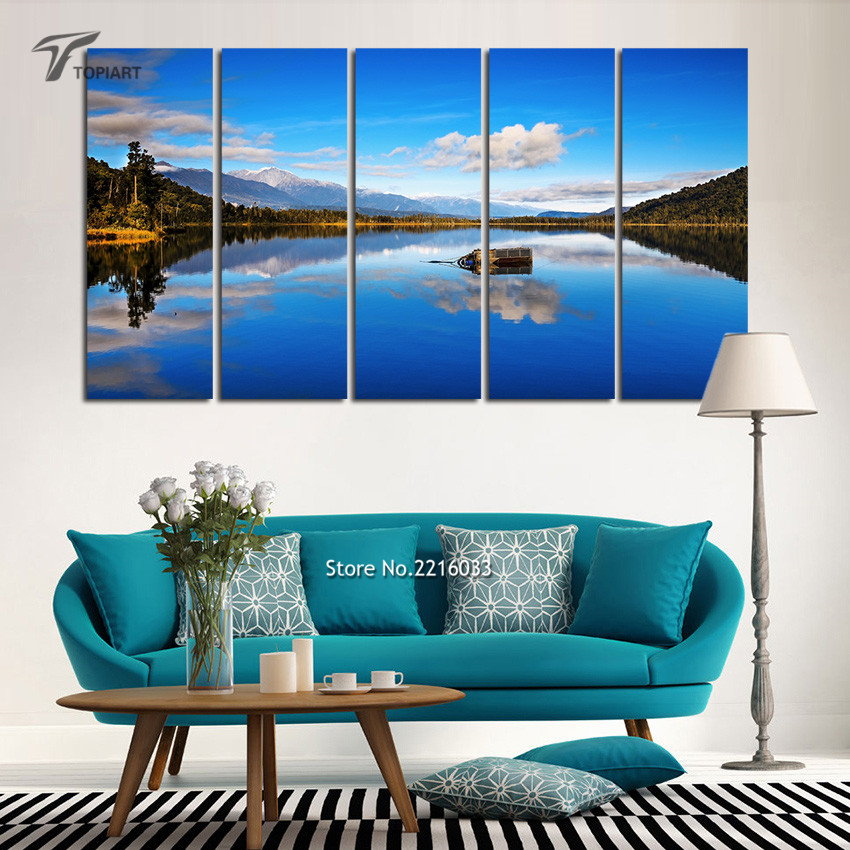 Aliexpresscom Buy 5 Panel Canvas Wall Art Blue Lake View New