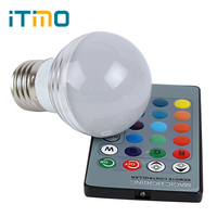 16 Colors E27 Dimmable RGB LED Bulbs IR Remote Control 3W LED Lamp For Room Decoration