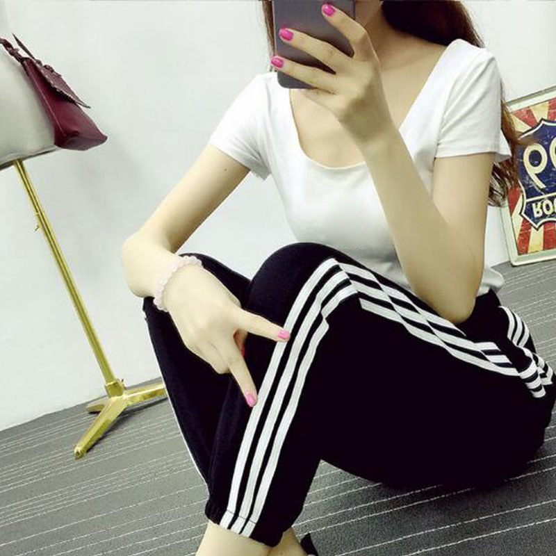 Black Tape Side Casual   Leggings   Women Elastic Waist Drawstring Long Pants 2018 Spring Active Workout Lace Up   Leggings   trousers