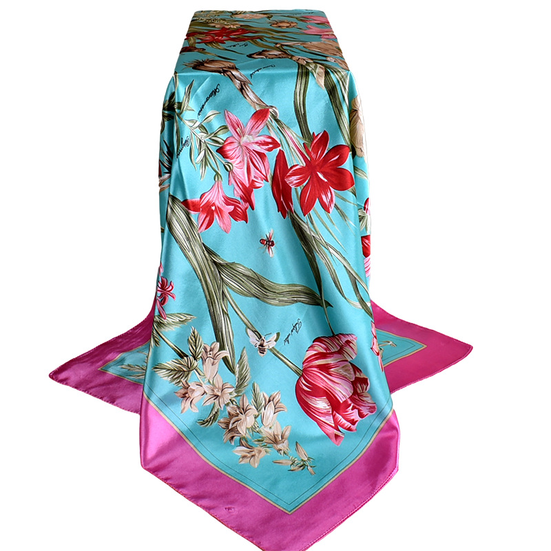 2019 Spring And Autumn Female Satin Scarf,Big Square Scarves Printed,Women Scarf,Purple Polyester Silk Scarf Shawl 90*90cm