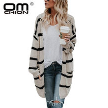 OMCHION Plus Size 3XL 2018 Autumn Korean Striped Long Cardigan Women Loose Pockets Vintage Knit Sweater Jacket Red Jumper LS94(China)