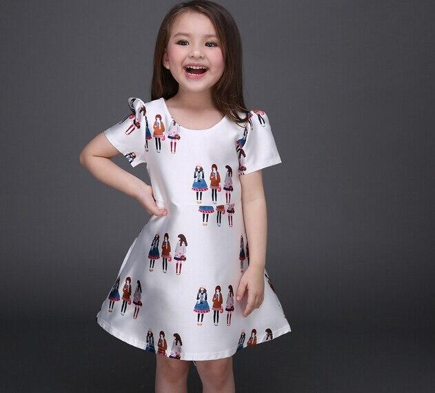 2016 Girls Cartoon Printing Princess Dresses Fashion Children Short Sleeve Birthday Party Dress Baby A-Line