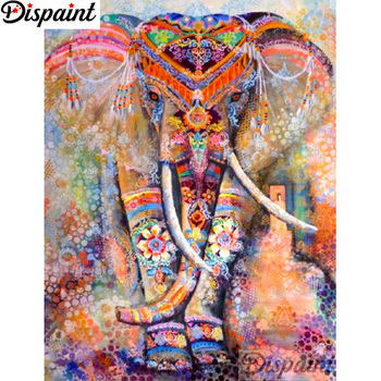 Dispaint Full Square/Round Drill 5D DIY Diamond Painting Colorful elephant Embroidery Cross Stitch 3D Home Decor A12503
