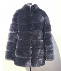 Image 5 - Zadorin 2020 プラスサイズ冬上着毛皮フェイクファーのコートの女性高襟長袖フェイクファージャケットをfourrure abrigosのmujer