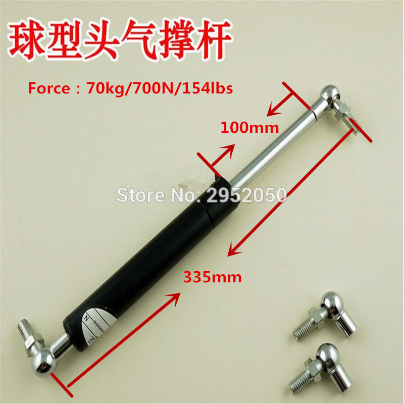 Free Shipping Silver Tone Black 700N/70KG Force Ball Studs Lift Strut Car Gas Spring 335*100mm free shipping500mm central distance 200mm stroke 80 to 1000n force pneumatic auto gas spring lift prop gas spring damper