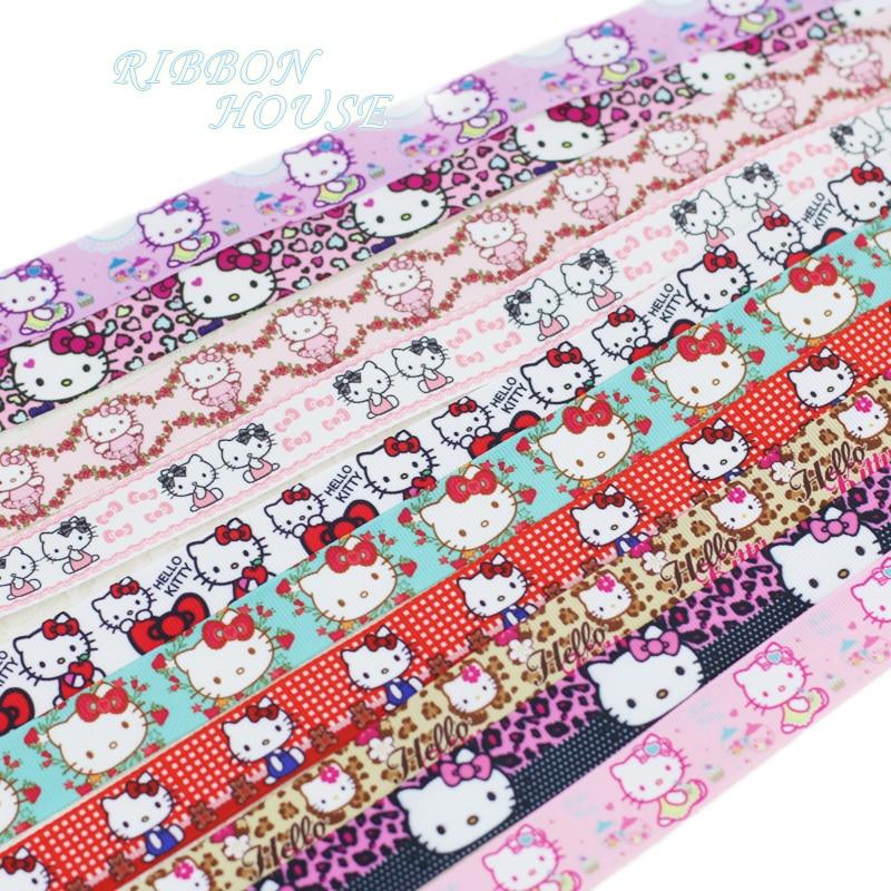 (Мм 5 ярдов/партия) 22 мм печатных довольно кошки корсажная лента оптовая продажа мультфильм животных ленты