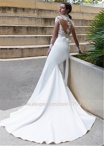 Image 2 - Wonderful Tulle & Satin Illusion High Neckline Mermaid Wedding Dresses With Lace Appliques