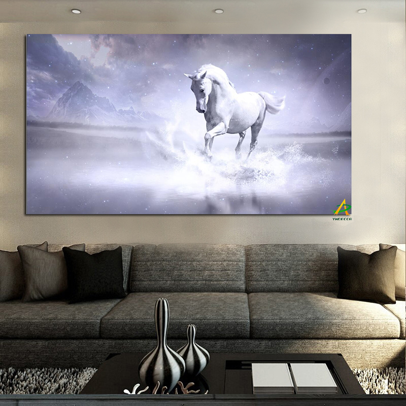 White Horse Keep Running in the River Pintura moderna sobre lienzo Impresiones digitales sobre lienzo Arte de la pared Imagen Sala de estar Decoración para el hogar