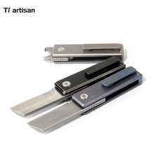 Tiartisan folding mini knife Titanium alloy blade flipper ball bearing EDC outdoor camping survival tool