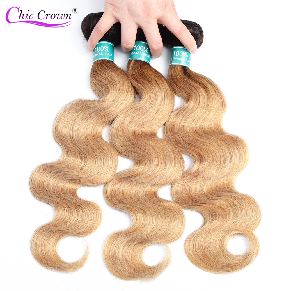 Pre-colored Ombre Brazilian Hair 1/3 Bundles Deals 1b 27 Two Tone Chic Crown Body Wave Ombre Human Hair Weave 3 Bundles For Wig