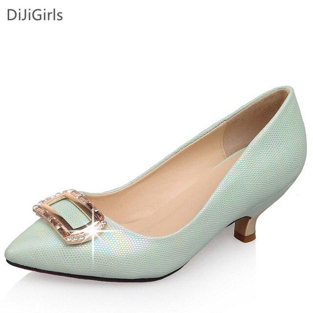 2016 Женщины на каблуках острым носом на низком каблуке женская обувь мода Блестками женские туфли Зеленый/Белый дамы высокой на высоком каблуке насосы