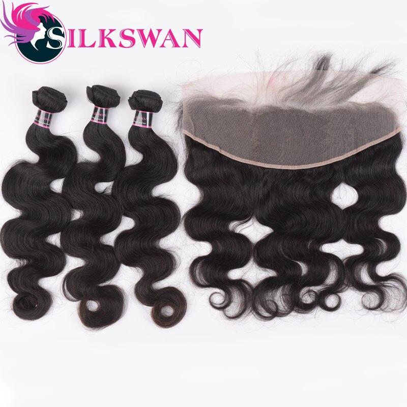 Silkswan-mechones ondulados con mechones frontales, 3 mechones con cierre de encaje 13x4, extensiones de cabello humano brasileño Remy, mechones de Color Natural