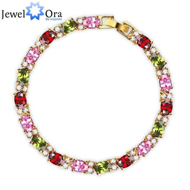 Multicolor Crystal Bracelets For Women Gold Color 5mm*190mm CZ Charms Bracelets & Bangles Thank You Gift (JewelOra BA100982)