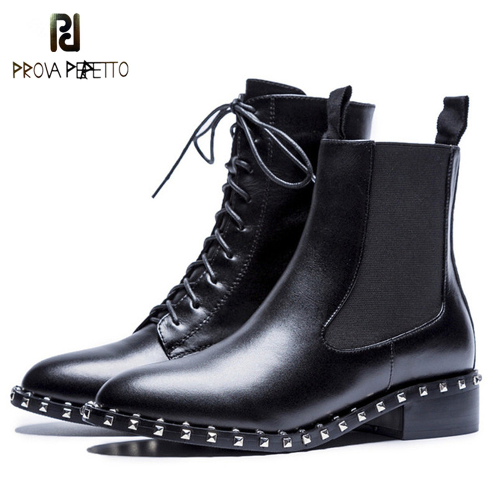 Prova Perfetto Lace up Genuine Leather Boots New Ankle Motorcycle Rivets Women Boots Fashion Shoes Woman