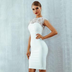 Image 3 - セレブイブニングパーティードレス白半袖レースエレガントなボディコンドレスの女性の新しい夏包帯ウェディング vestidos 女性のドレス