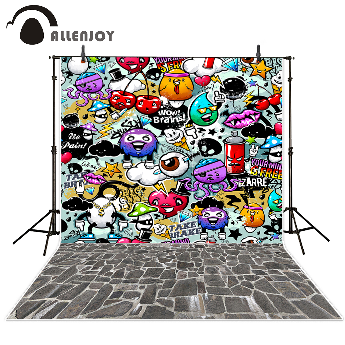 Allenjoy Graffiti photographic background cartoon children character wall photography studio interesting camera fotografica