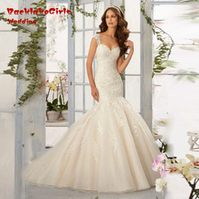 Hot Sale 2017 New Spring Custom Made Classic Modern Style Appliques Sweetheart Organza Mermaid Wedding Dress Bridal Gowns