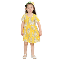 Summer Girl Dress Yellow Fashion Girls Dresses Casual Kids Clothes Leopard Print Dress Robe Fille Enfant