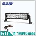 """Oslamp 120 W 14 """"5D CREE Chips Straigh Combo Light Bar OffRoad Luz de Conducción 12 v 24 v Camión SUV Barco ATV Refit Coche Led Bar + Soporte"""