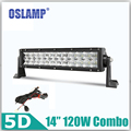 "Oslamp 120W 14"" 5D CREE Chips Straigh Light Bar OffRoad Combo Driving Light 12v 24v Truck SUV Boat ATV Car Refit Led Bar+Bracket"