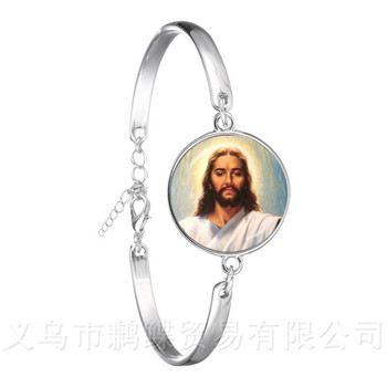 2018 New Style Blessed Virgin Mary Mother Of Baby Bracelet Jesus Christian Catholic Religious Glass Jesus Bangle For Gift image