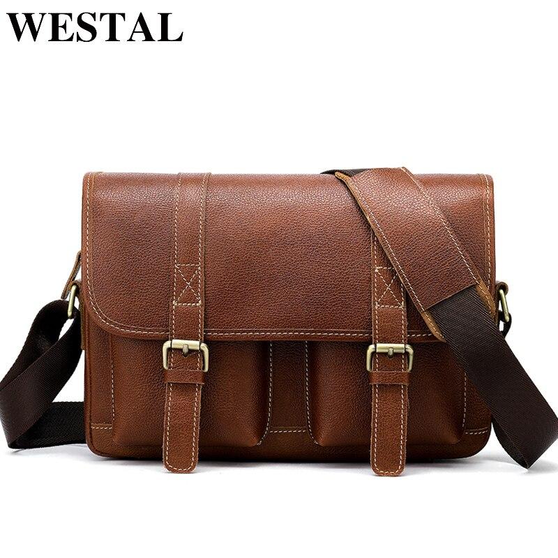 WESTAL Vintage Crossbody Bags for Men Satchels Genuine Leather Bag Hasp  Cover Messenger Bags Men Leather Men s Shoulder Bag 8518 4df873bac325f