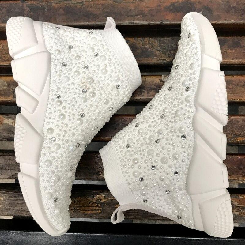 Myfitgo baskets cristal femmes chaussettes chaussures de luxe perles dames décontracté respirant chaussures femmes vulcaniser baskets strass Femme - 2