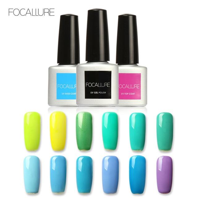 FOCALLURE 20 kolorów 7 ML zielony serii żel polski LED UV lakiery żelowe do paznokci lakier podkładowe lakiery żelowe