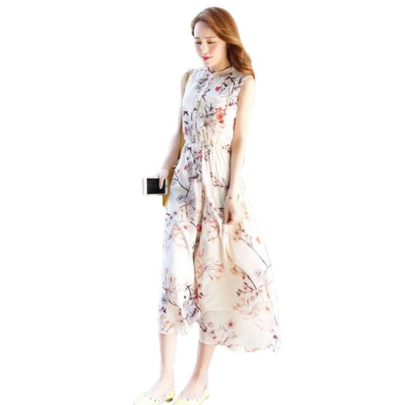 Women Sleeveless Round Neck Beach Dress Vestidos Bohemian Floral Print Chiffon Long Dress