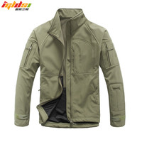 Men's Army Camouflage Military Windcheater Tactical Jacket Hunt Sharkskin Softshell Standcollar Windproof Outerwear Fleece Coats