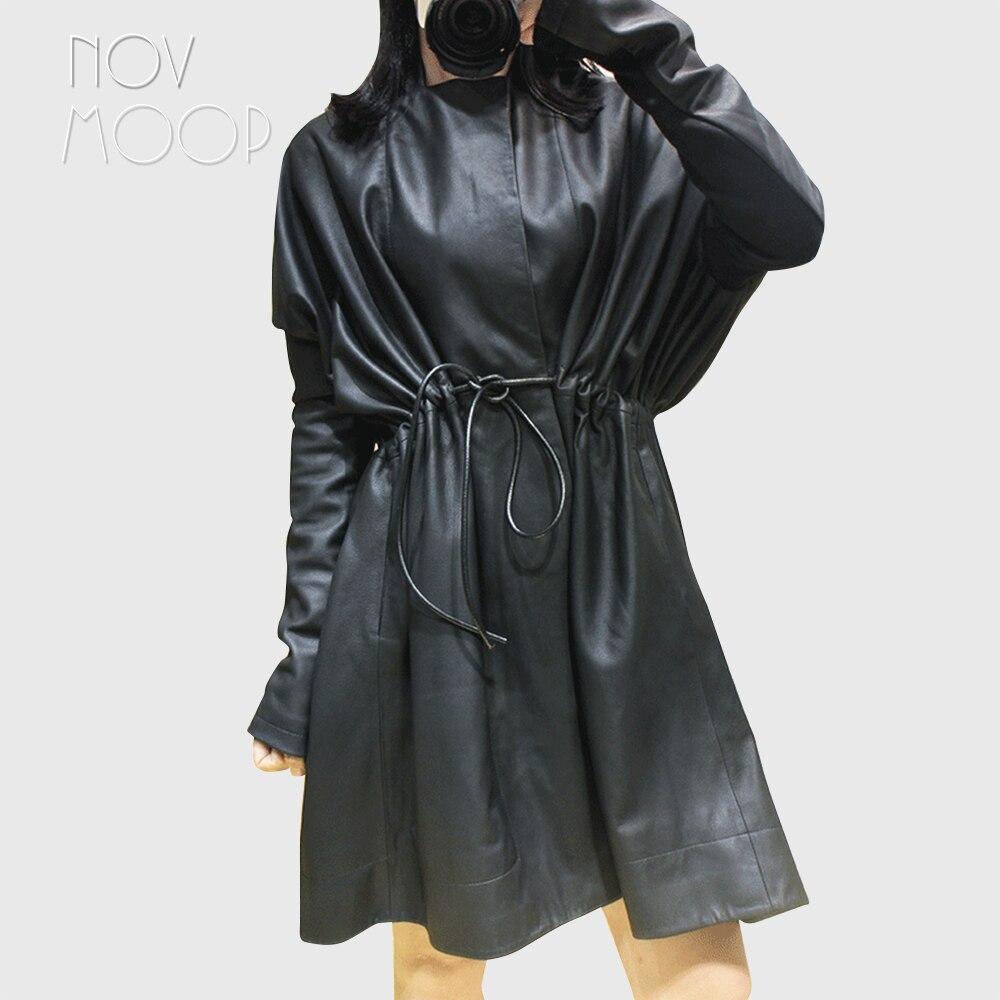 Women black genuine leather top grade lambskin long coats tie waist elasticized rib knit panel sleeve