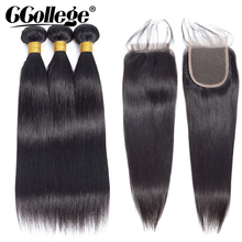hot deal buy ccollege straight hair bundles with closure brazilian hair weave 3 bundles with closure non remy human hair bundles with closure