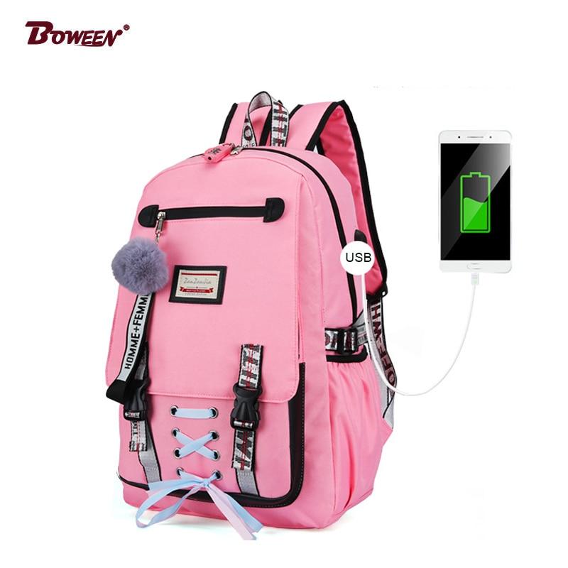 Backpack Women Black Large Capacity Girls School Bag For Teenage Anti Theft Lock USB Back Pack Nylon Bagpack Youth Bag Pack 2019