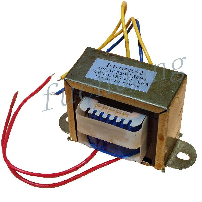 Audio Transformer 220V Single Turn Dual 18V Volt Output AC3A Audio Electrical Rectifier EI66*32 AC Power Transformer 40W