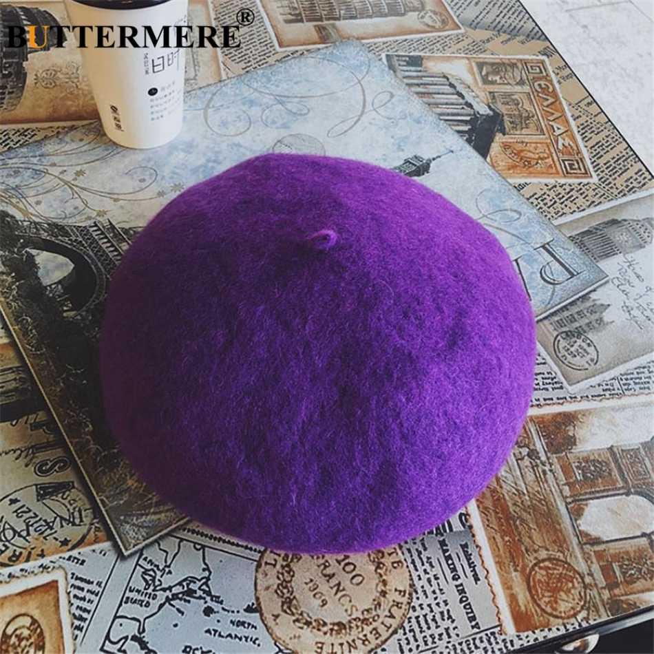 BUTTERMERE желтый шерстяной берет бренд Французский Берет для женщин осень зима Корейская шерстяная плоская кепка Повседневная японская маляр шляпа для женщин