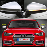 New Arrival 1 Pair Side Wing Rearview Mirror Covers Cap Silver Matte Chrome Shell Cover Protection Cap for Audi A4 A5 S4 S5 B9
