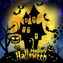 Halloween Party Theme Photography Background Pumpkin Lawn Withered Trees Lamp Custom Photo Studio Vinyl HA